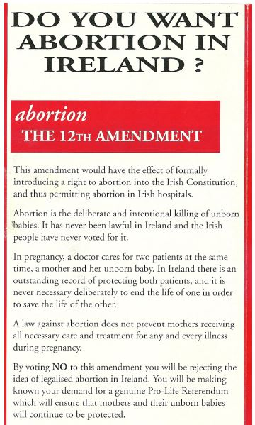 A Pro Life Campaign referendum flyer from 1992.
