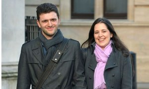 Louisa Hodkin and Alessandro Calcioli outside supreme court
