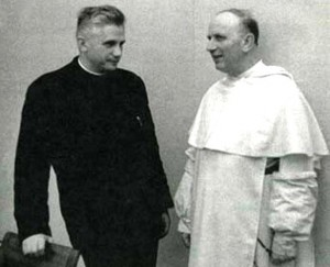 Father Joseph Ratzinger, the future Pope Benedict XVI, with the Dominican theologian Yves Congar during Vatican II.