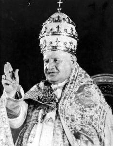 John XXIII wearing the Palatine Tiara.
