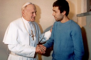 Pope John Paul II meeting Mehmet Ali Ağca in 1983.