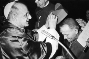 Archbishop Karol Wojtyla being made cardinal by Pope Paul VI.