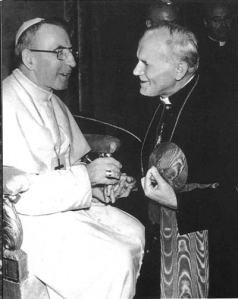 Cardinal Karol Wojtyla of Krakow speaking with Pope John Paul I.