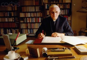 The then Cardinal Ratzinger, now Pope emeritus Benedict XVI.