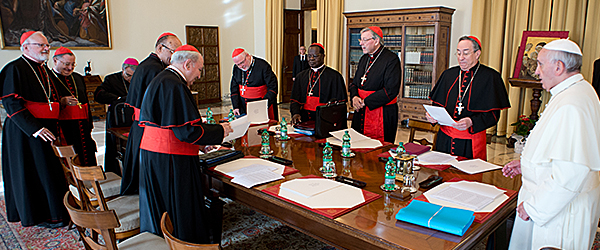 Pope Francis and his Council of Cardinals.