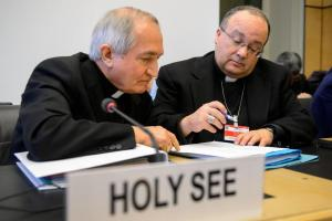 Archbishop Silvio Tomasi consulting with the Bishop Charles Scicluna, formerly the Holy See's chief prosecutor in cases of clerical abuse.