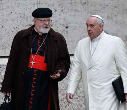Cardinal Sean O'Malley, president of the Commission for Protection of Minors, with Pope Francis