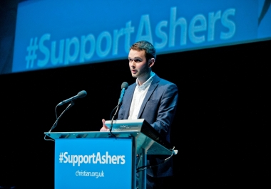 Daniel McArthur speaking at an event to support Ashers