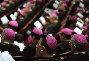 "Bishops listen to Pope Benedict XVI (not pictured) as he opens a session of a synod of Catholic bishops on the theme of ""The Word of God in the Life and Mission of the Church"" on October 6, 2008 at the Vatican. Of the 253 archbishops, bishops and cardinals summoned to the three-week long synod, 51 are from Africa, 62 from the Americas, 41 from Asia, 90 from Europe and nine from the Pacific with for the first time representatives and prelates from other religions. AFP PHOTO / FILIPPO MONTEFORTE (Photo credit should read FILIPPO MONTEFORTE/AFP/Getty Images)"
