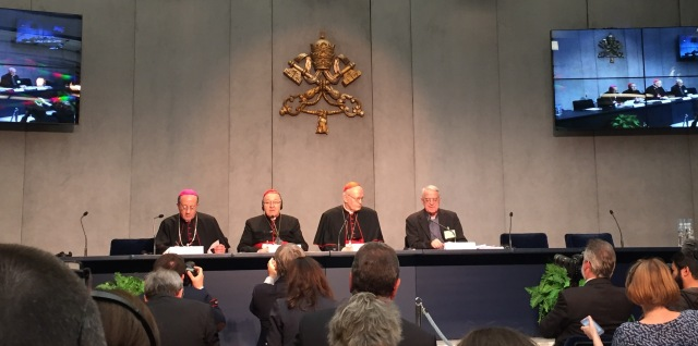 Today's press conference: from left to right: Archbishop Forte, Cardinals Vingt-Trois and Erdö, and Fr Lombardi, Vatican spokesman