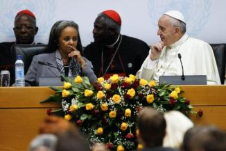 Pope Francis talks to UNON Director-GeneralSahle-Work Zewde before delivering his speech.