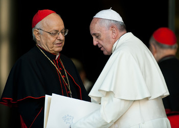 Card Baldisseri with pope Francis