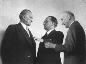The German Konrad Adenauer, the Frenchman Robert Schuman, and the Italian Alcide de Gasperi, Christian-Democrat founders of the future EU, meeting in 1952