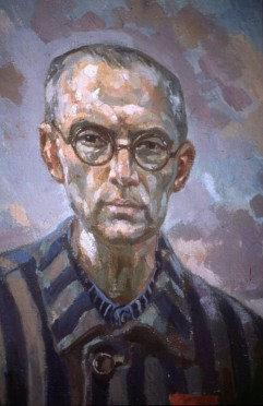 St. Maximilian Kolbe, who took the place of a young father condemned to die at Auschwitz during World War II, in an undated painting. Pope Francis yesterday prayed in his cell CNS photo by John Pole) See POPE-POLAND-VIDEO July 20, 2016.