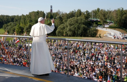Pope Francis greets the crowd as he visits the Divine Mercy Shrine in Lagiewniki, a suburb of Krakow (CNS photo/Paul Haring)