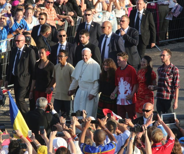 Pope Francis arrives for a July 30 prayer vigil with World Youth Day pilgrims at the Field of Mercy in Krakow, Poland. (CNS photo/Bob Roller) See POPE-POLAND-WYD-VIGIL July 30, 2016.