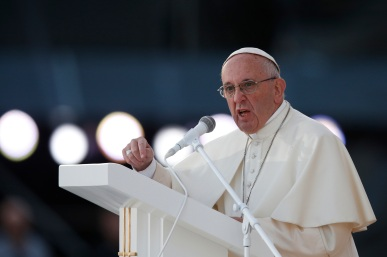 Pope Francis speaks as he leads the July 30 World Youth Day prayer vigil at the Field of Mercy in Krakow, Poland. (CNS photo/Paul Haring) See POPE-POLAND-WYD-VIGIL July 30, 2016.