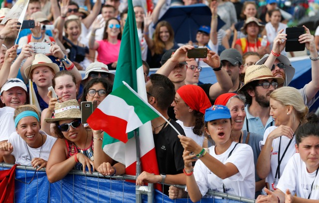 The crowd reacts as Pope Francis arrives to celebrate the closing Mass of World Youth Day at Campus Misericordiae in Krakow, Poland, July 31. (CNS photo/Paul Haring) See POPE-POLAND-WYD-MASS July 31, 2016.