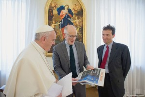 Francis with journalists at the French Catholic daily La Croix