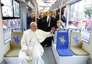 Pope Francis arrived at Blonia Park in a tram (Photo: AP)