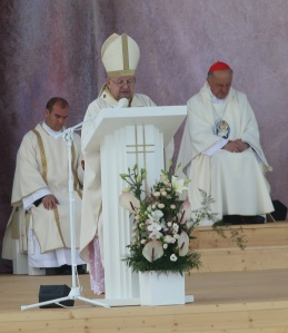 Cardinal Stanislaw Dziwisz of Krakow, Poland, celebrating the opening Mass for World Youth Day