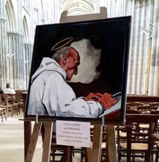 The portrait of Fr Jacques painted and presented to the archbishop by Moubine, a Muslim believer living in St Etienne du Rouvray where the priest was killed