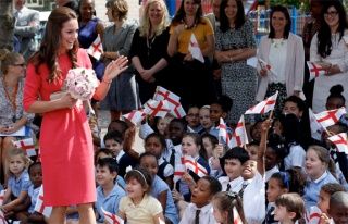 Academically excellent, socially & ethnically diverse, and in demand ... The Duchess of Cambridge waves to children from Blessed Sacrament Catholic School in London, July 1, 2014.