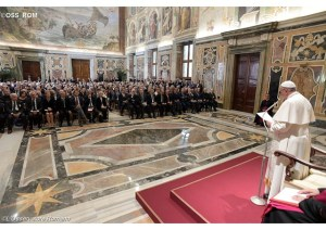 The Pope today, addressing journalists. (Photo: Osservatore Romano)