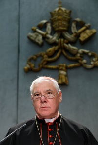 Cardinal Gerhard Muller, prefect of the Congregation for the Doctrine of the Faith, speaks at a Vatican news conference yesterday (CNS photo/Paul Haring)