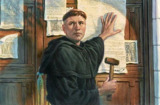 A painting of Martin Luther nailing his 95 theses to the door of Castle Church in Wittenberg, Germany. (Photo: Greg Copeland/Concordia Publishing)