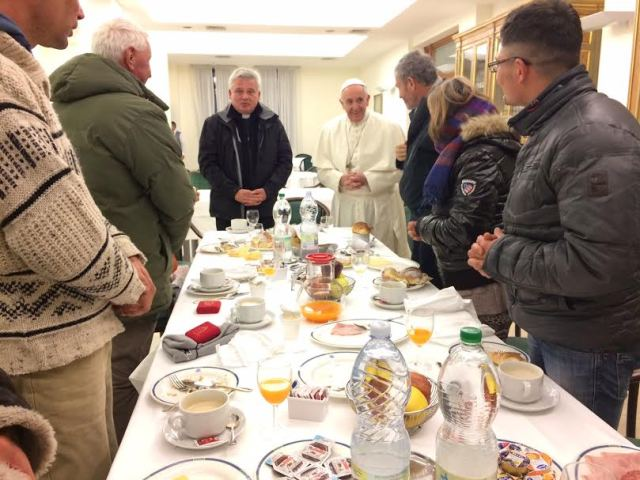 Pope Francis this morning with homeless guests for birthday breakfast. (Photo: Greg Burke).