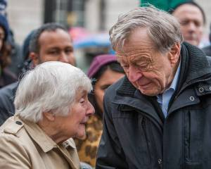 Lord Dubs yesterday with Catholic peer Baroness Shirley Williams delivering a protest petition against the Government reneging on its commitment to the so-called 'Dubs Amendment'.